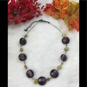 Lucky Brand Purple & Green Beaded Necklace
